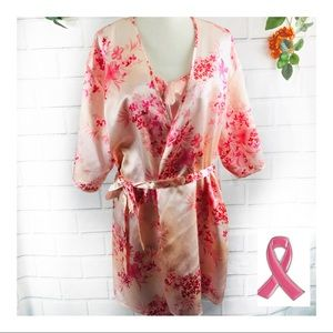 Secret Treasures Pink Floral Nightgown/Robe Med.